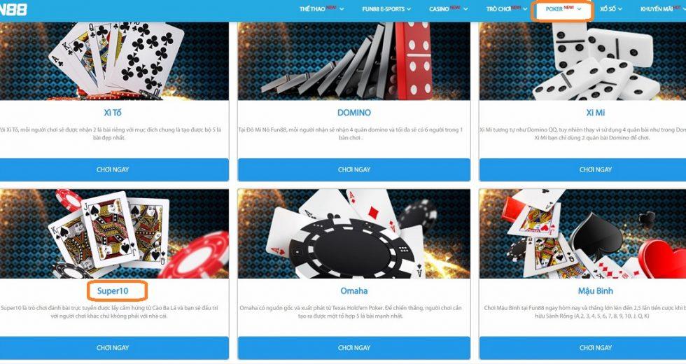 Hướng dẫn chơi game bài Super 10 tại Fun88 Poker