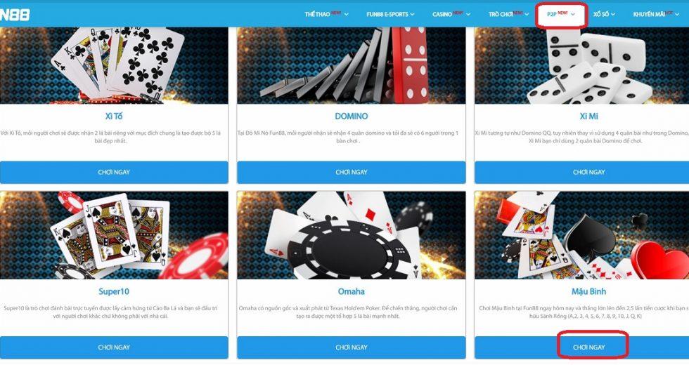 Hướng dẫn chơi game mậu binh online tại nhà cái Fun88